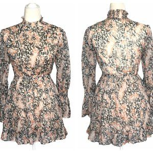 Hello Molly Sheer Mini Dress with Bell Sleeves